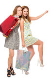 Beautiful girls with bags posing Stock Photography