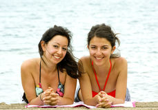 Beautiful girls of the beach Stock Photography