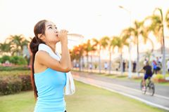 Beautiful girls. Beautiful girls are exercising at the park royalty free stock photos