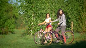 Beautiful girls on bicycles on the background of green trees in a Sunny day in the Park. Telephoto shot stock video
