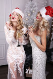 Beautiful girls with blond hair posing beside Christmas tree Royalty Free Stock Photography