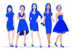 Beautiful Girls in Blue Evening Dresses royalty free stock image
