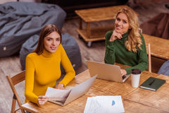 Beautiful girls in cafe Royalty Free Stock Photography