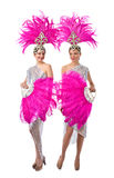 Beautiful Girls in carnival costumes, isolated on white backgro Royalty Free Stock Photos