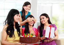 Beautiful girls celebrate birthday Royalty Free Stock Photos