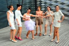 Beautiful girls celebrating spring in Vilnius city Royalty Free Stock Images