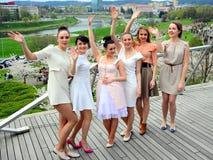 Beautiful girls celebrating spring in Vilnius city Royalty Free Stock Photo