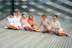 Beautiful girls celebrating spring in Vilnius city Royalty Free Stock Image