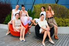 Beautiful girls celebrating spring in Vilnius city Stock Photos