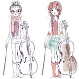 Beautiful girls with the cello. The illustration of a beautiful girls who plays the cello Stock Image