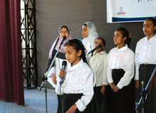 Beautiful Girls Choir coral singing. A beautiful group of Girls Choir coral singing in Arabic, Giza, Egypt Royalty Free Stock Image