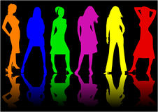 Beautiful girls - color. Vector work Royalty Free Stock Images