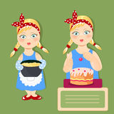 beautiful girls cook delicious dishes Royalty Free Stock Photos