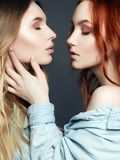 Beautiful Girls Couple. Hug of two Women. Blonde and red Hair Models. Kisses girls Royalty Free Stock Photos