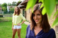 Beautiful Girls on Coutryside Stock Images