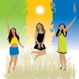 Beautiful girls dance on meadow Royalty Free Stock Photo