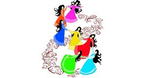 Beautiful girls dances on flower Stock Image
