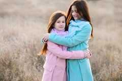 Happy girls at dawn outdoor royalty free stock photography