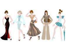 Beautiful girls in different clothing style. Royalty Free Stock Image