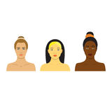 Beautiful girls of different races. Different skin tones.  Set of flat Icons with pretty women. Royalty Free Stock Photo