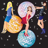 Beautiful girls and disco balls. Royalty Free Stock Photo