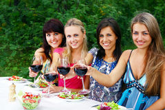 Beautiful girls drinking wine Royalty Free Stock Image
