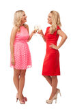 Beautiful girls in fashion dresses with champagne Royalty Free Stock Image