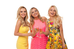 Beautiful girls in fashion dresses with champagne Stock Image