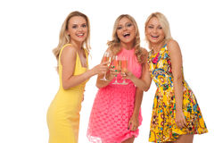 Beautiful girls in fashion dresses with champagne Royalty Free Stock Photography