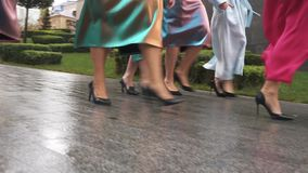 Beautiful girls in fashion dresses defile on the street. Plus size Fashion Week. Slow motion. Charming girls in beautiful dresses defile on the street. Plus stock footage