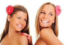 Beautiful girls with flower Royalty Free Stock Image