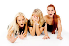 Beautiful girls frightened look, shout. On white background Stock Photos