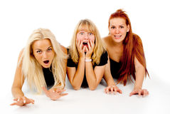 Beautiful girls frightened look, shout Royalty Free Stock Photography