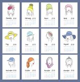 Beautiful girls in hats vertical calendar 2018. Each month on a separate page. Vector sketch illustration in hand. Drawing style Stock Photo