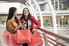 Beautiful girls holding shopping bags walking at shopping mall. Beautiful girls holding shopping bags walking at the shopping mall Royalty Free Stock Photography