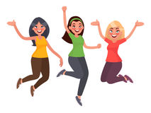 Beautiful girls are jumping with happiness. Women`s joy. Vector. Illustration in cartoon style Stock Image