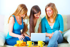 Beautiful girls with laptop Stock Photo