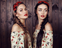 Beautiful girls with long hair in elegant dresses Royalty Free Stock Photos