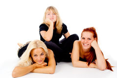 Beautiful girls look into the camera Royalty Free Stock Images