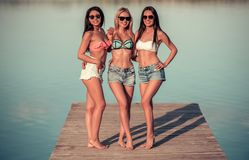 Girls on the sea Stock Images
