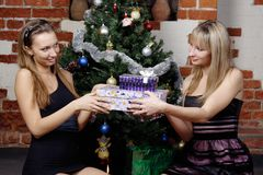 Beautiful girls make a present Royalty Free Stock Photos