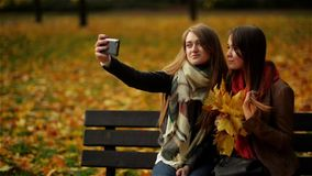 Beautiful Girls Making Selfie on the Bench on the Smartphone. Two Young Women Enjoying Outdoors and Taking Selfie with. Cell Phone. Outdoor stock video footage