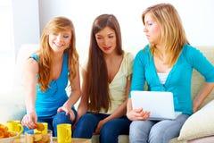 Beautiful girls meeting Stock Photos