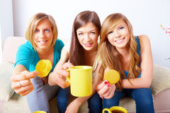 Beautiful girls meeting Stock Photo