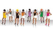Beautiful girls of model pose. On a podium Royalty Free Stock Image