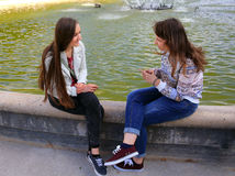 Beautiful girls in Paris city Stock Images