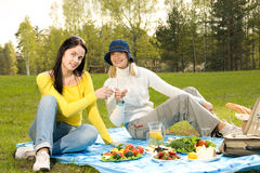 Beautiful girls at picnic Royalty Free Stock Image