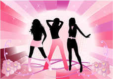 Beautiful girls - pink background Stock Image