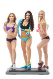 Beautiful girls promoting healthy lifestyles Stock Photography