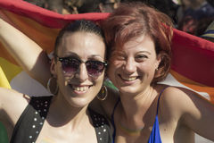 Beautiful girls with rainbow flag Royalty Free Stock Image